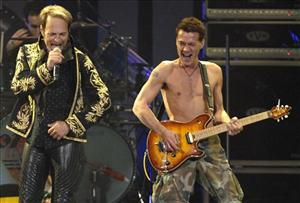 David Lee Roth, left, and Eddie Van Halen of Van Halen perform in Toronto, Sunday, Oct. 7, 2007.