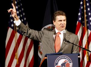Rick Perry gestures during a speech before a Virginia Republican fundraising event in Richmond, Virginia earlier this year.