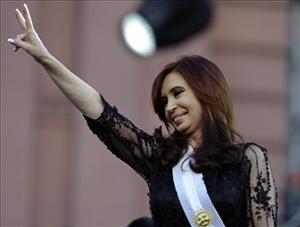 Argentina's re-elected President Cristina Fernandez de Kirchner greets supporters during her inauguration ceremony, in   Buenos Aires earlier this month.
