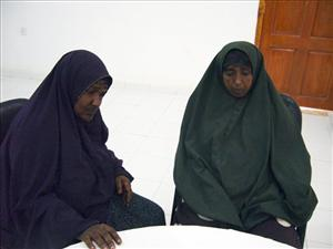 In this Thursday Dec. 2, 2010 photo, Asha, left, and Muna, right, during the interview conducted at a U.N. compound in northern Somali town of Galkayo.