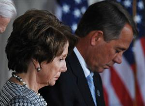 House Democratic Leader Nancy Pelosi and House Speaker John Boehner in a file photo from November.
