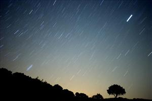 A meteor streaks across the sky against a field of stars during a meteorite shower early August 13, 2010 near Grazalema, southern Spain.    AFP PHOTO/ JORGE GUERRERO
