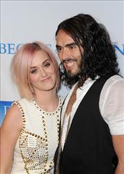 Katy Perry and Russell Brand attend 3rd Annual 'Change Begins Within' Benefit Celebration at Los Angeles Times Central Court on December 3, 2011 in Los Angeles, California.