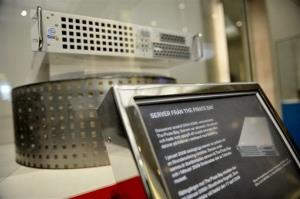 One of the servers of Swedish file-sharing website Pirate Bay is seen exhibited at the Technical Museum in Stockholm, Sweden, April 16, 2009.