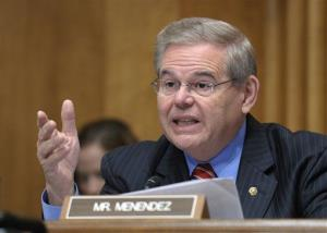 Sen. Robert Menendez, D-N.J., speaks on Capitol Hill in Washington, Thursday, Dec. 1, 2011.