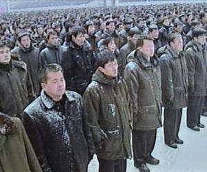 This television screen grab taken from North Korean TV on January 3, 2012 shows thousands of North Koreans as they hold a mass rally in support for their country's policies and new leader Kim Jong-Un at Kim Il Sung Square in Pyongyang on January 3, 2012.