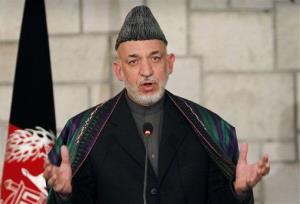 Afghan President Hamid Karzai speaks during a joint news conference with U.S. Defense Secretary Leon Panetta, unseen, at the presidential palace in Kabul, Afghanistan, Wednesday, Dec. 14, 2011.