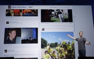 In this file photo, Facebook CEO Mark Zuckerberg shows Timeline during the f/8 conference in San Francisco.