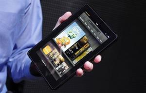 In this Sept. 28, 2011 file photo, the Kindle Fire is displayed at a news conference in New York.