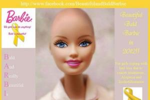 An image of a bald Barbie from a Facebook campaign.
