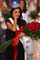 Miss Wisconsin Laura Kaeppeler reacts after being crowned Miss America Saturday Jan. 14, 2012 at The Planet Hollywood Resort & Casino in Las Vegas.