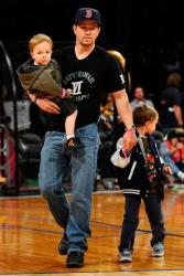 Mark Wahlberg with sons Michael and Brendan at Staples Center in Los Angeles last year.