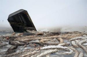 Ropes float from a flooded corridor of the Costa Concordia cruise ship grounded off the Tuscan island of Giglio, Italy.