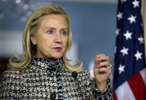 Secretary of State Hillary Rodham Clinton gestures during a news conference with German Foreign Minister Guido Westerwelle Jan. 20.