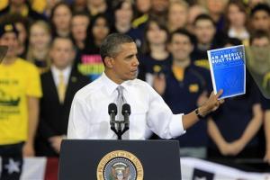 President Barack Obama speaks at the University of Michigan's Al Glick Field House, Friday, Jan. 27, 2012, in Ann Arbor, Mich.