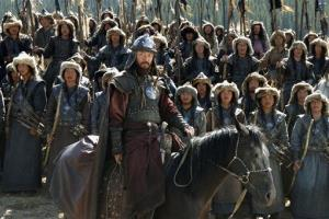 In this undated photo, actor Tadanobu Asano, center, plays Mongol conqueror Genghis Khan, in Kazakhstan's Oscar-nominated epic The Mongol, directed by Russia's Sergei Bodrov.