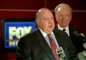 Roger Ailes and Rupert Murdoch answer questions about their new network at a press conference in 1996.