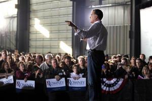 Mitt Romney speaks at a campaign rally in Colorado Springs, Colo., Saturday.