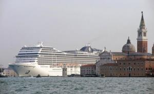 The MSC Magnifica cruise liner ship passes near St Mark's square in Venice's basin on January 23, 2011. United Nations cultural body UNESCO urged the Italian government the same day to restrict the access of cruise ships to World Heritage Site Venice in the wake of the Costa Concordia cruise...