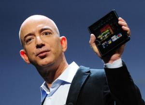 Amazon CEO Jeff Bezos introduces the new Kindle Fire tablet in New York, September 28, 2011.