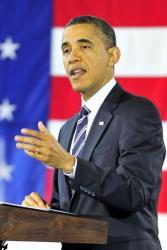 President Barack Obama makes remarks on the economy at Fire Station #5 February 3, 2012 in Arlington, Virginia.