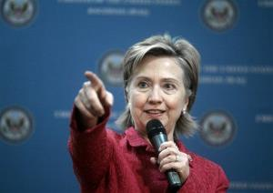 Secretary of State Hillary Clinton addresses representatives of Iraqi civil society and members of the press at the US embassy in Baghdad, Iraq, Saturday, April 25, 2009.