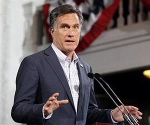 Republican presidential candidate, former Massachusetts Gov. Mitt Romney speaks at his Colorado caucus night rally in Denver, Tuesday, Feb. 7, 2012.