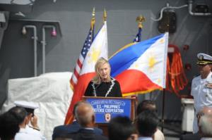 Hillary Clinton speaks after signing a declaration marking 60 years since the US signed a security treaty with the Philippines on board the USS Fitzgerald, docked at the Manila bay, November 16, 2011.