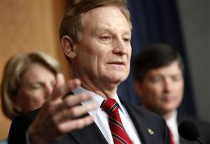 Republican Rep. Spencer Bachus of Alabama gestures during a news conference.
