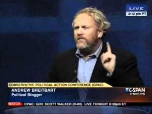Conservative blogger Andrew Breitbart addresses CPAC.