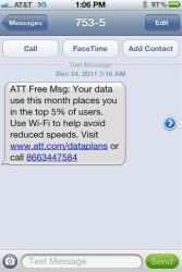 This undated screen grab provided by Mike Trang shows a warning message on the screen of Trang's iPhone that he received from AT&T advising he was in danger of having his data speeds throttled.