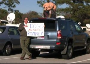 Dogs don't belong on top of cars, Dogs Against Romney says.
