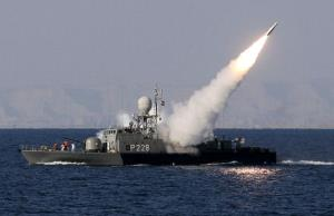 Iranian navy fires a Mehrab missile during exercises in the Strait of Hormuz in southern Iran on January 1, 2012.