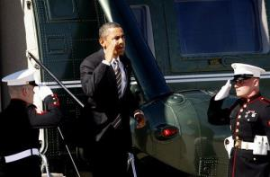 President Barak Obama exits Marine One at Los Angeles International Airport yesterday before departing for San Francisco.