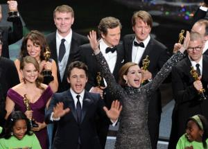 James Franco and Anne Hathaway celebrate with the cast and crew of The King's Speech on stage after the 83rd Annual Academy Awards at the Kodak Theatre on February 27, 2011 in Hollywood, Calif.