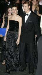 Children of Princess Caroline of Hanover, Charlotte Casiraghi and Pierre Casiraghi arrive at the Rose Ball, Saturday, March 28, 2009, in Monaco.