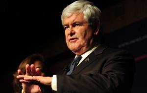 Newt Gingrich gestures while speaking to an audience in South El Monte, east of Los Angeles, on February 13, 2012 in California.