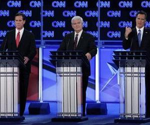 Rick Santorum, Newt Gingrich, and Mitt Romney participate in a debate in Jacksonville, Fla., Thursday, Jan. 26, 2012.