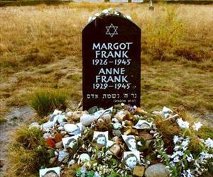 A symbolic grave for Anne Frank is seen at the site of the Bergen-Belsen camp. Her body is actually buried somewhere in one of the camp's mass graves.