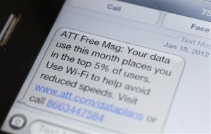 This Feb. 10 photo shows a smartphone with a text message to an AT&T customer in New York.