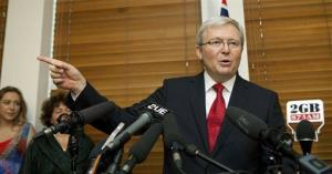 Former Australian Prime Minister Kevin Rudd speaks at a media conference after losing the leadership challenge.