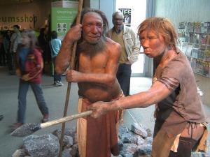 Neanderthal models in the Neandertal-Museum, Dusseldorf, Germany.