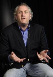 Conservative blogger Andrew Breitbart, who runs BigGovernment.com and BigJournalism.com, gestures during an interview.
