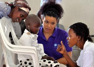 American pop idol Jordin Sparks (2-R) visits The Akilah Institute for Women in Kigali, Rwanda.