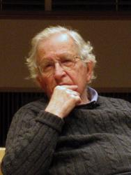 MIT linguistic professor and iconoclastic intellectual and political activist Noam Chomsky, 83, delivers a Dean's lecture at the University of Maryland in College Park on January 27, 2012.
