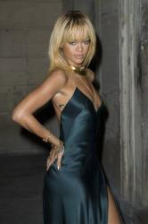 Rihanna arrives for the Stella McCartney Winter Evening wear presentation in London last month.