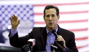 Rick Santorum speaks at Battleship Memorial Park, Friday, in Mobile, Alabama.