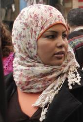 In this Thursday, March 8, 2012 photo, Egyptian activist Samira Ibrahim attends a rally in downtown Cairo, Egypt to mark International Women's Day.
