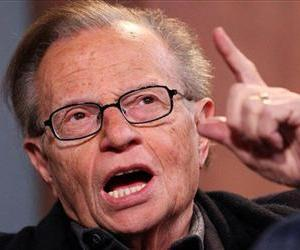 Larry King talks with host Jamie LaFiego while appearing as a guest on Up Late on Thursday, March 1, 2012, at Marshall University in Huntington, W.Va.