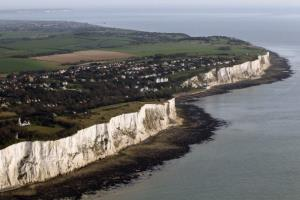 The white cliffs of Dover are seen from the air on April 7, 2011 in Dover, England.